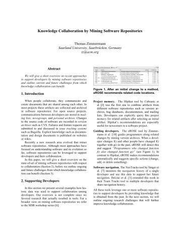 Knowledge Collaboration by Mining Software ... - CiteSeerX
