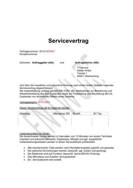 Muster Servicevertrag Ttservice