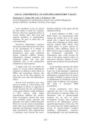 local anesthetics; an anti-inflammatory value? - Asja-eg.com