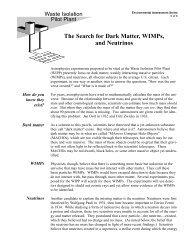 Dark Matter, Wimps and Neutrinos - Waste Isolation Pilot Plant - U.S. ...