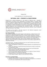 NATIONAL LEAD – STRENGTH & CONDITIONING - England Golf