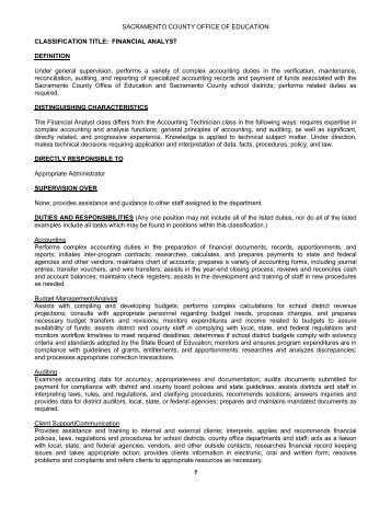 Job Description Information Systems Analyst  Sacramento County