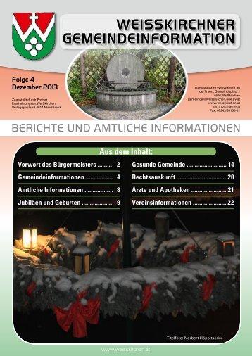 weisskirchner gemeindeinformation - Weisskirchen an der Traun