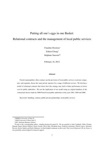 Relational contracts and the management of local public services