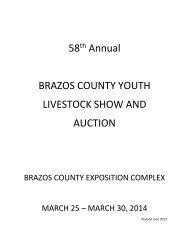 2014 Brazos County Livestock Show Rule Book