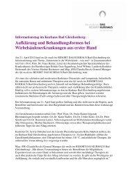 Informationstag im Kurhaus Bad Gleichenberg: Aufklärung und ...