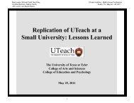 UTeach UT Tyler - The UTeach Institute