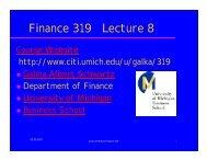 Finance 319 Lecture 8 - Citi - University of Michigan