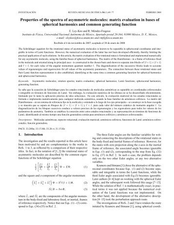 Properties of the spectra of asymmetric molecules - E-journal ...