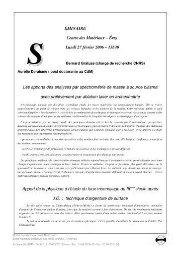 SÉMINAIRE DU 12 JANVIER 2001 - Le Centre des Matériaux