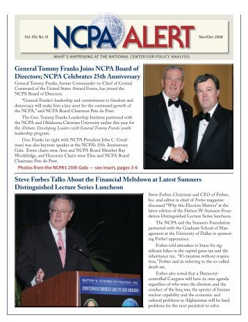 General Tommy Franks Joins NCPA Board of Directors; NCPA ...