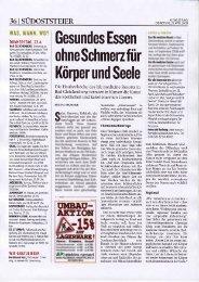 """KLEINE ZEITUNG APRIL 2009 - """"Gesundes Essen ohne Schmerz"""