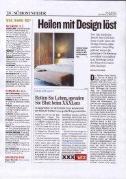 """KLEINE ZEITUNG APRIL 2009 - """"Heilen mit Design löst"""