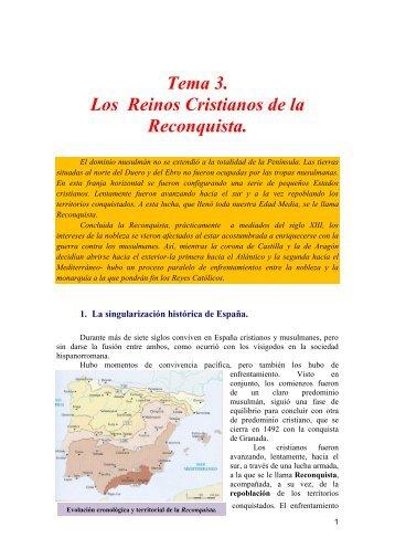 Tema 3. Los Reinos Cristianos de la Reconquista.