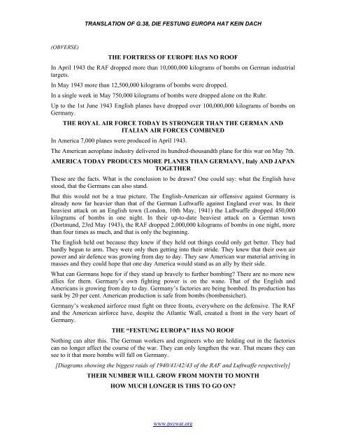 Translation Of G 38 Die Festung Europa Hat Kein Dach Psywar Org