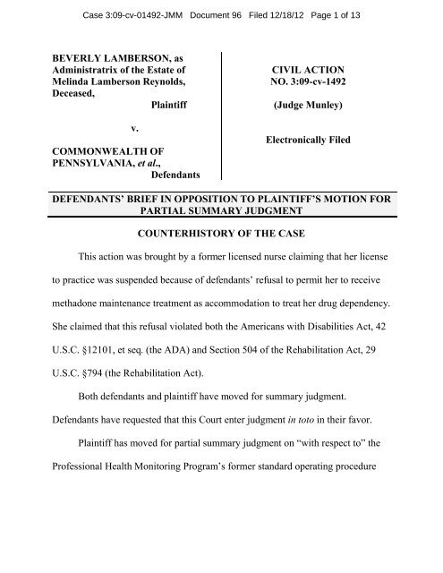 Defendants Brief In Support Of Motion For Summary Judgment