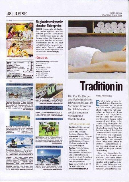 """KLEINE ZEITUNG APRIL 2009 - """"Tradition in neume Design"""