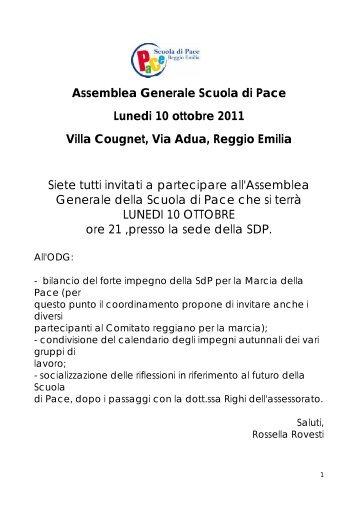 Assemblea Generale Scuola di Pace Lunedi 10 ottobre 2011 Villa ...