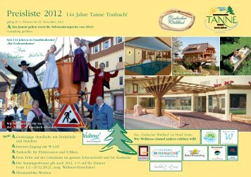 Preise 2012 - Hotel Tanne Tonbach