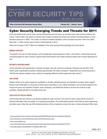 Cyber Security Emerging Trends and Threats for 2011 - PDF - Texas ...