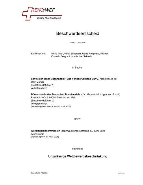 REKO/WEF Beschwerdeentscheid - REKO/EVD+WEF