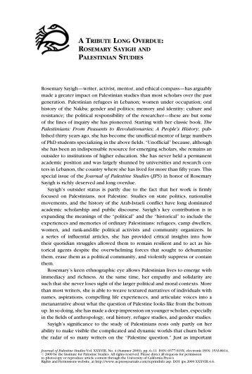 rosemary sayigh and palestinian studies