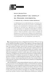Le règlement du conflit du Sahara occidental : A ... - Politique Africaine