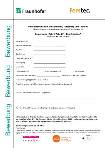 anmeldeformular - Tu Clausthal Bewerbung