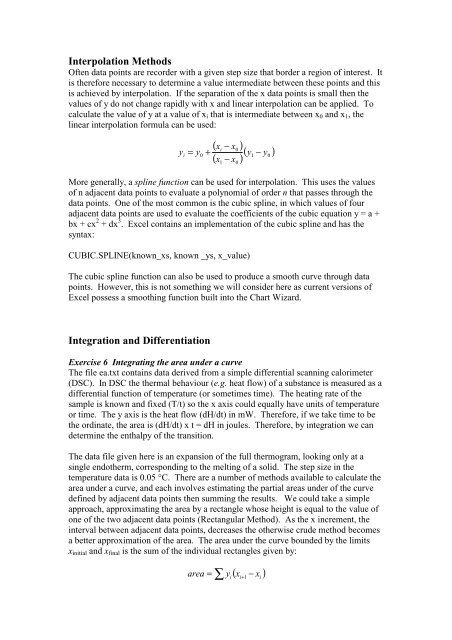 Interpolation Methods Integration and Differentiation