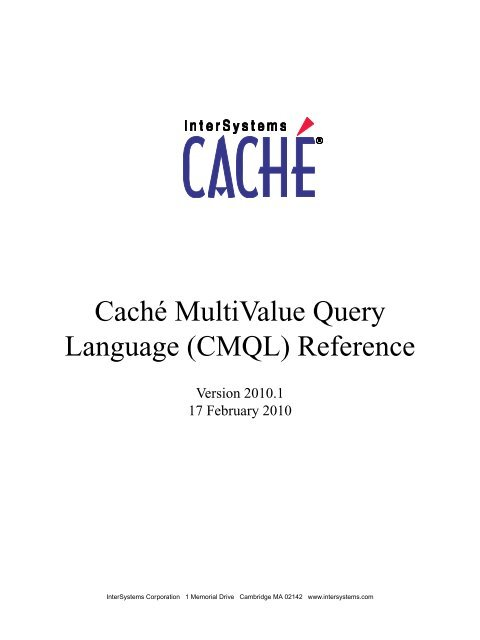 Caché MultiValue Query Language - InterSystems Documentation