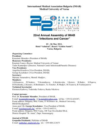 22nd Annual Assembly of IMAB - International Medical Association ...
