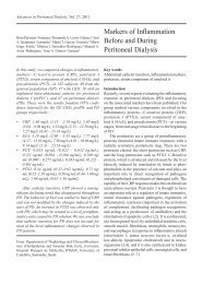 Markers of Inflammation Before and During Peritoneal Dialysis