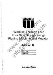 Wadkin XR Planer Moulder Manual and Parts List