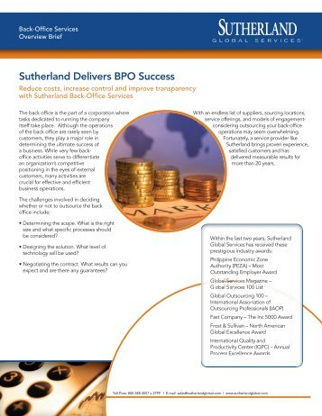 Sutherland Delivers BPO Success - Sutherland Global Services
