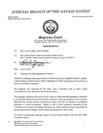 Memo on Proposed Language - Navajo Courts