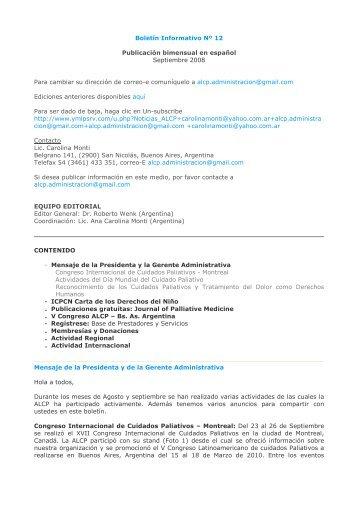 Boletín Informativo Nº 12 Publicación bimensual en español ...