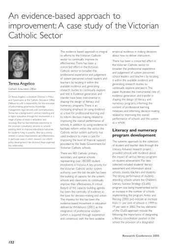 An evidence-based approach to improvement: A case study ... - ACER