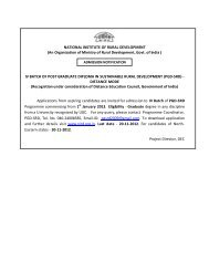 Admission Notification of PGD-SRD IV Batch - National Institute of ...