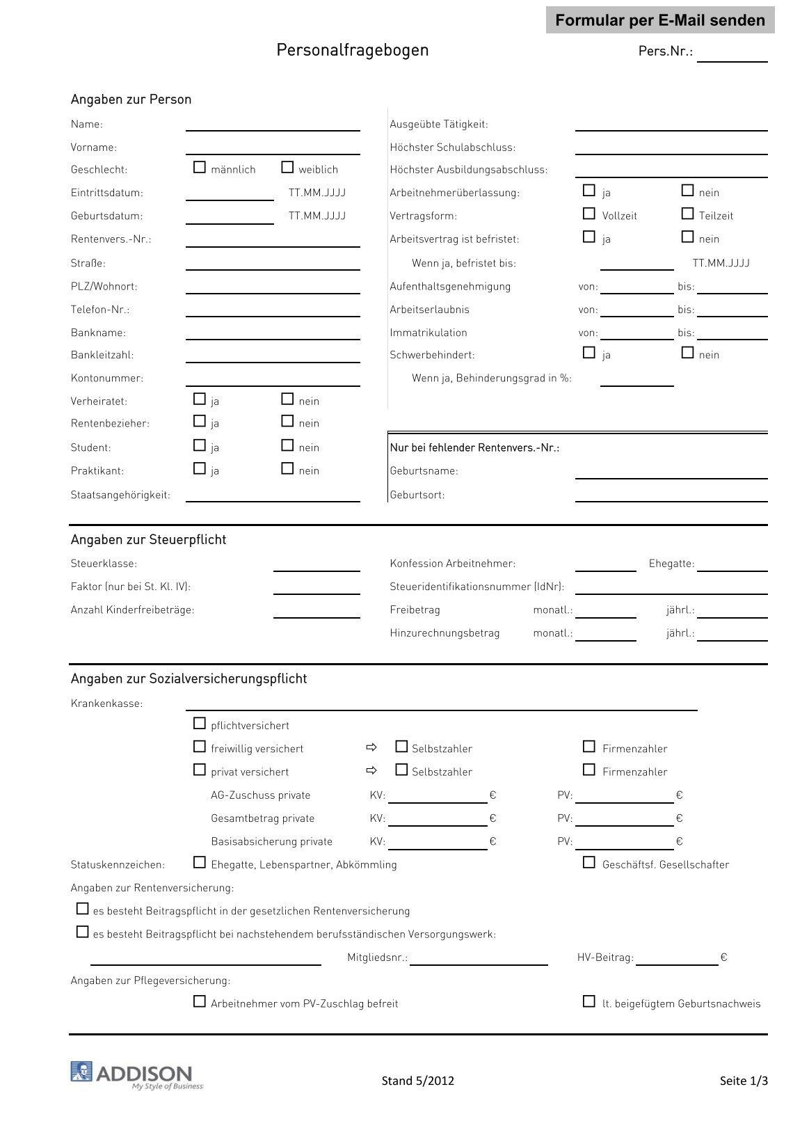 hsdpartnerde - Personalfragebogen Muster