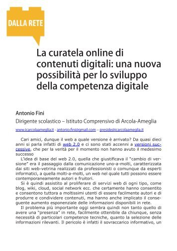 La curatela online di contenuti digitali: una nuova possibilità per lo ...