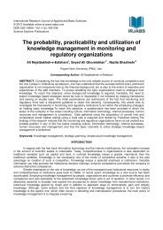 The probability, practicability and utilization of knowledge ... - irjabs