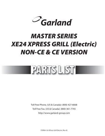 MASTER SERIES XE24 XPRESS GRILL (Electric) NON-CE & CE ...