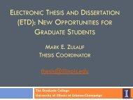 ETD - The Graduate College at Illinois - University of Illinois at ...