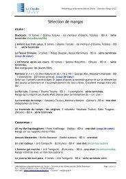 Sélection manga 2012 - Médiathèque Départementale du Doubs