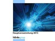 Hauptversammlung 2013 - Dr. Hönle AG