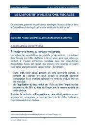 LE DISPOSITIF D'INCITATIONS FISCALES - investissement de Settat