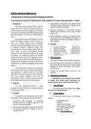 Call for papers for Seminar on 'Compulsory Licensing and ...