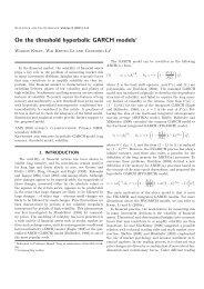 On the threshold hyperbolic GARCH models∗ - The University of ...