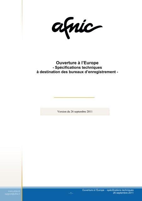 Ouverure à l'Europe - Spécifications techniques - Afnic
