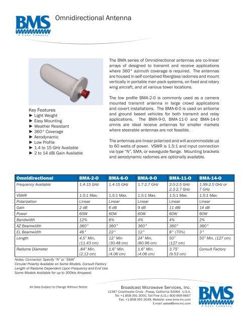 Omni-directional Antenna Datasheet - Broadcast Microwave
